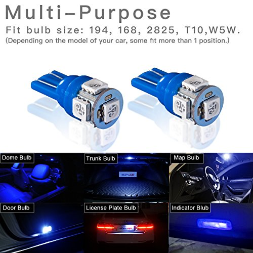 Marsauto Blue T10 194 168 Bright Instrument Panel Dashboard LED Light Bulbs No-polarity 2825 5SMD Dome Map License Plate Lights Lamp 12V (Pack of 10) by Marsauto (Image #2)