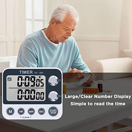 Digital Kitchen Timer Magnetic Back,Cooking Timer,Large Display Loud Alarm Count-Up /& Count Down for Cooking Baking Sports Games Office,Volume Adjustable,ON//OFF Switch Dual Timer,Battery Including shenzhen YanYi