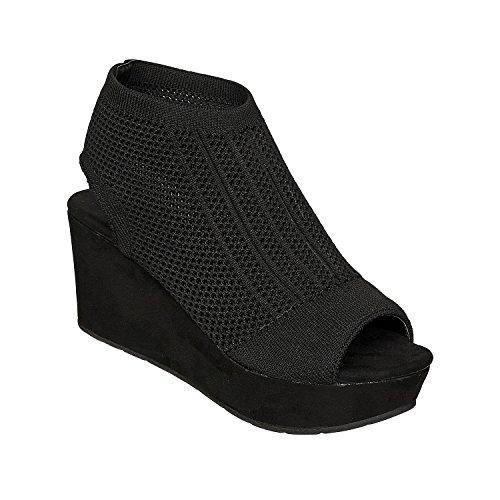 5 Natural Women's Platform Pierre Dumas Black Sandals Wedge Cutout 6nxwwZq