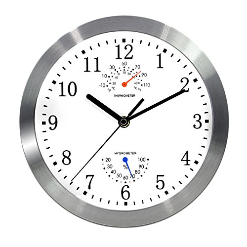 Magho Battery Operated Silent Non-ticking Indoor Wall Clock with Temperature & Humidity ,Glass Cover,Silver Color(Aluminum Metal Frame, 10)