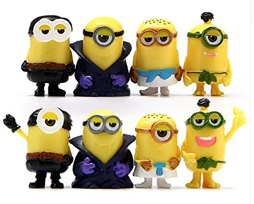 8pcs/lot Minion Figures Toys Despicable Me 3D Eye Minions Cosplay PVC Action Figure Toys Model Toy for Home Decoration Kids Gift