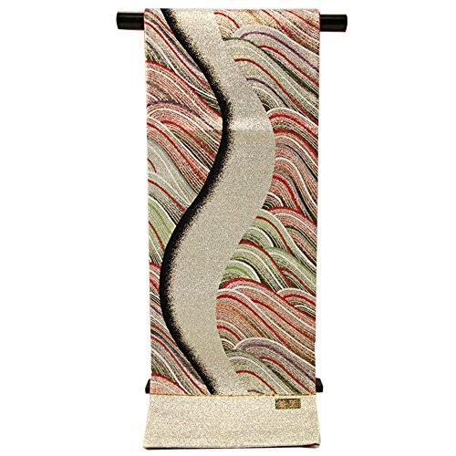 歌う祝福馬鹿袋帯 振袖用 -2- 西陣織 西陣 帯 振袖 着物 シルク 絹 日本製 シルバー