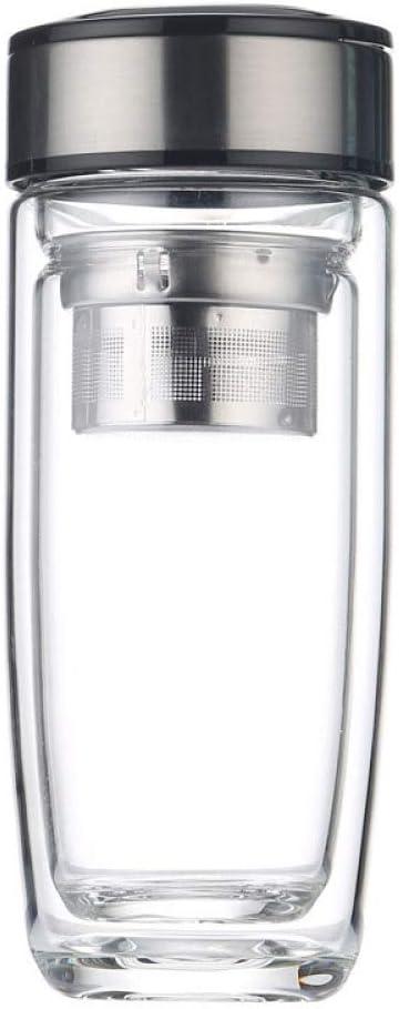 GJJ Taza de té Transparente de Cristal de Dos Capas con Tapa Taza de Regalo publicitaria Personalizada