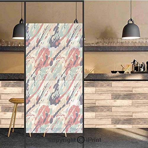 3D Decorative Privacy Window Films,Abstract Pastel Color Splashes Artistic Dirty Look Liquid Splat Drops Print Decorative,No-Glue Self Static Cling Glass Film for Home Bedroom Bathroom Kitchen Office