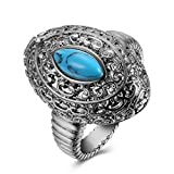 Vintage Simulated Turquoise Cocktail Band Ring Men Stainless Steel 18K Gold Plated Party Wear