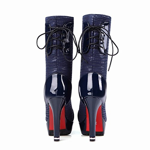 Latasa Womens Platform High Heels High Top Lace up Boots Dark Blue 34xOdtJ3