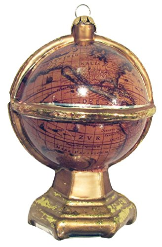 Old World Globe Antiqued Gold Christmas Holiday Glass Ornament ()