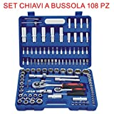 euronovità en-28907 Socket Ratchet Combination Spanners Set, 108 Pieces, Keys, with Inserts, Hand Tools for Work