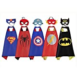 RioRand Comics Cartoon Heros Dress Up Costumes 5 Satin Capes with Felt Masks