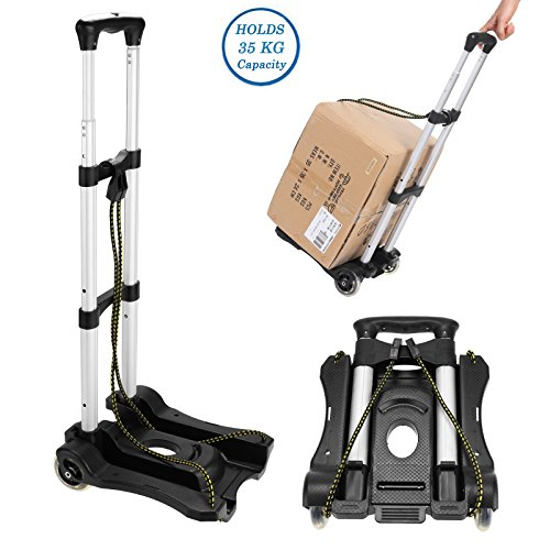(Ferty Multi Functional Aluminum Folding Portable Luggage Cart Lightweight Hand Truck for Indoor Outdoor Travel Shopping (US STOCK))
