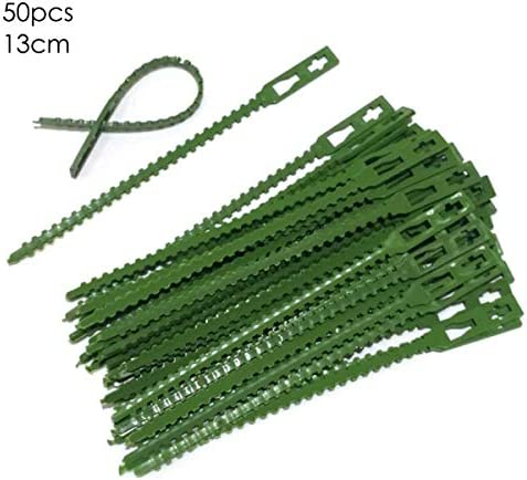 Yinuoday 50 Stück Verstellbare Pflanzenbinder Gartenpflanzen-Drehbinder Flexible Hochleistungs-Kunststoff-Pflanzenpfähle Grüne Kabelbinder für Die Unterstützung von Gartenpflanzen Feste