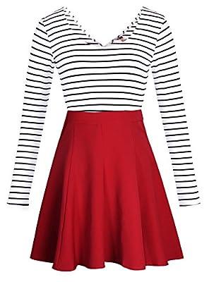 SHESHARES ELFIN Women Stripe Cocktail Cute Mini Dress Cross Back Long Sleeve Party Dress
