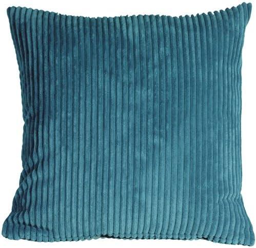 PILLOW D COR Wide Wale Corduroy 22×22 Marine Blue Throw Pillow