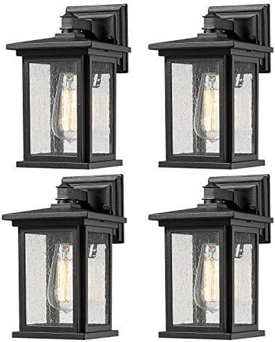 Bestshared Outdoor Wall Light Fixture, Exterior Wall Mount Lighting, Outdoor Wall Sconces, Porch Wall Lighting, Black Finish Black, 4 Pack