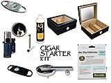 50 Count Cigars Glasstop Deep Black Humidor Cutters Lighter Cigar Caddy Gift Set & Calibration Kit ashtray