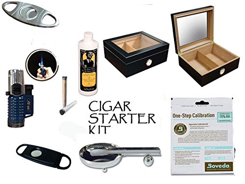 50 Count Cigars Glasstop Deep Black Humidor Cutters Lighter Cigar Caddy Gift Set & Calibration Kit ashtray 50 Count Cigar Humidor
