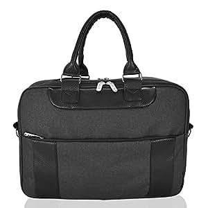 DALIX Mens Messenger Bag Travel Briefcase for Business Work Carry On in Black