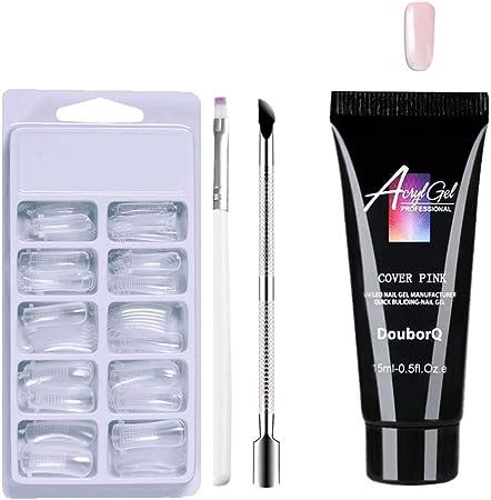 Imagen dePolygel nail kit,Anself Kit de Gel de uñas Poly Kit de Gel de Extensión de Uñas Poly Gel Clear False Puntas de Uñas Pluma de Gel de Empujador de Uñas de Doble