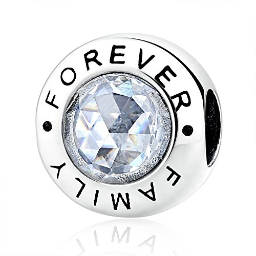 The Kiss Family Forever with Clear CZ 925 Sterling Silver Bead Fits European Charm Bracelet ()