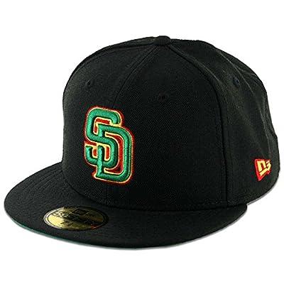 New Era 59Fifty San Diego Padres Fitted Hat (Black/Rasta) Men's Custom MLB Cap