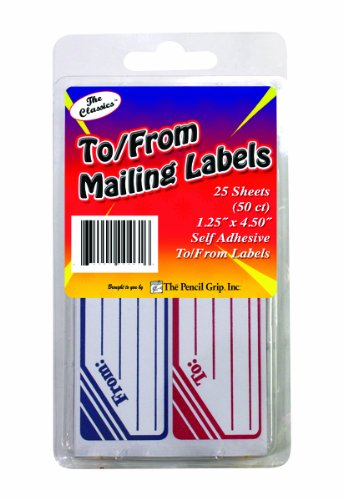 Pencil Grip The Classics To/From Mailing Labels, 1.25 x 4.5 Inches, Blue/Red/White, 50 Labels per Box, 6 Boxes per Pack (TPG-46306)