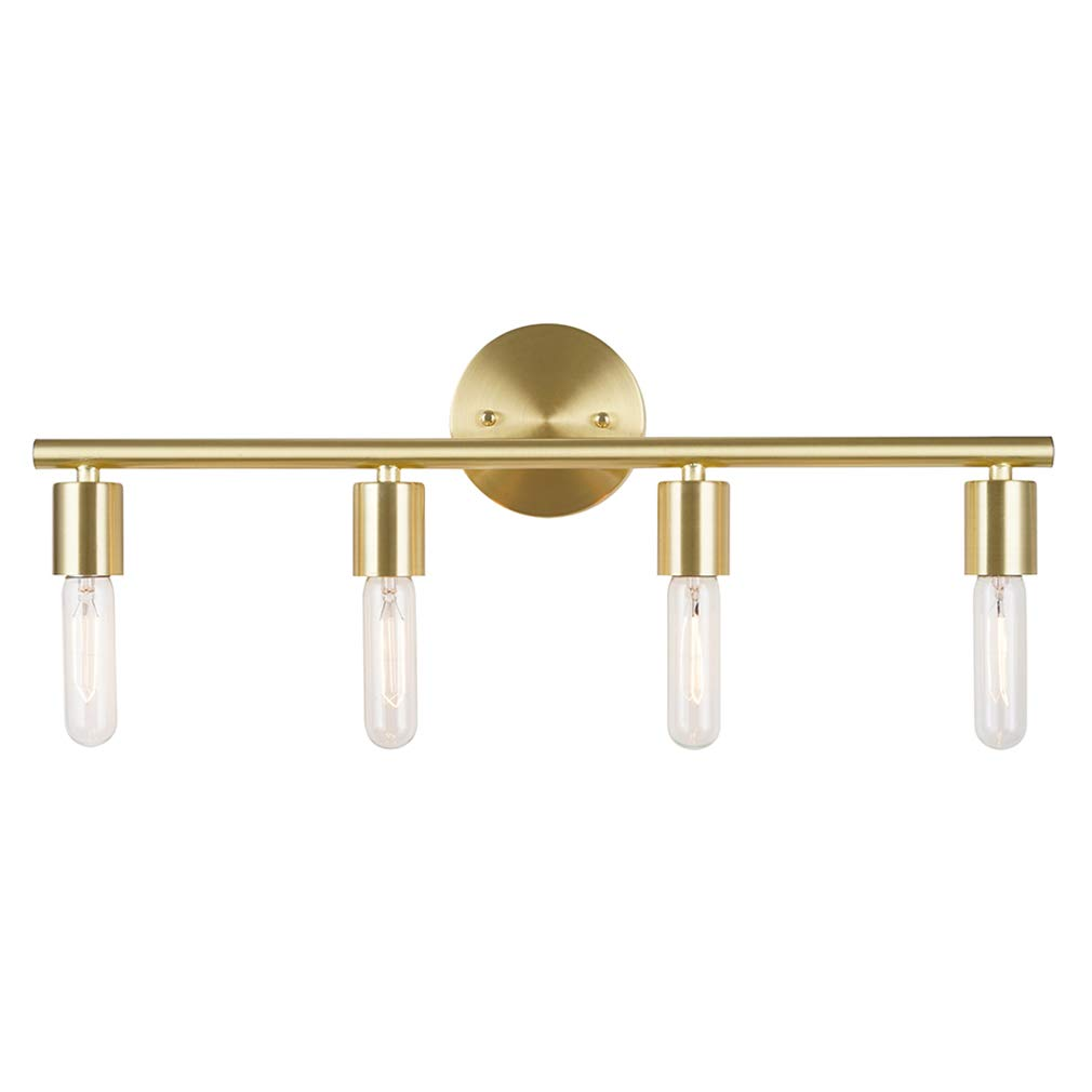 Rivet Modern 4-Light Vanity Wall Sconce with Bulbs, 6''H, Satin Brass
