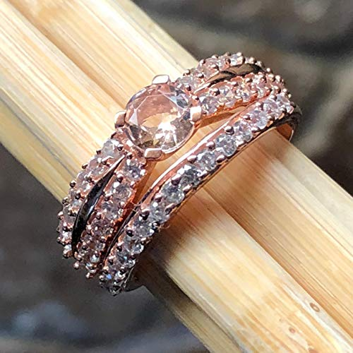 - Natural Peach Morganite, Accent Stone 14k Rose Gold Over Sterling Silver Engagement Ring Set size 8