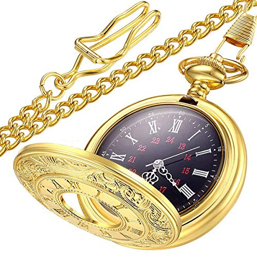 LYMFHCH Vintage Roman Numerals Quartz Pocket Watch, Men Womens Watch with Chain As Xmas Fathers Day Gift