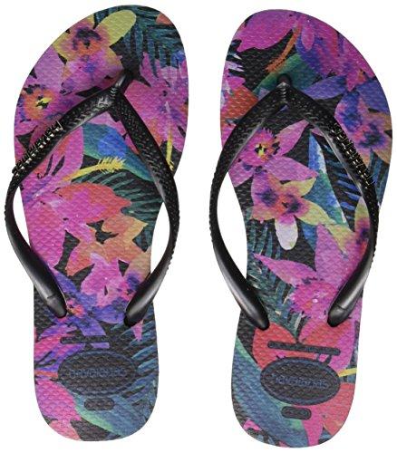 Havaianas Slim Tropical Womens Flip Flops Black Multicolour - 39-40