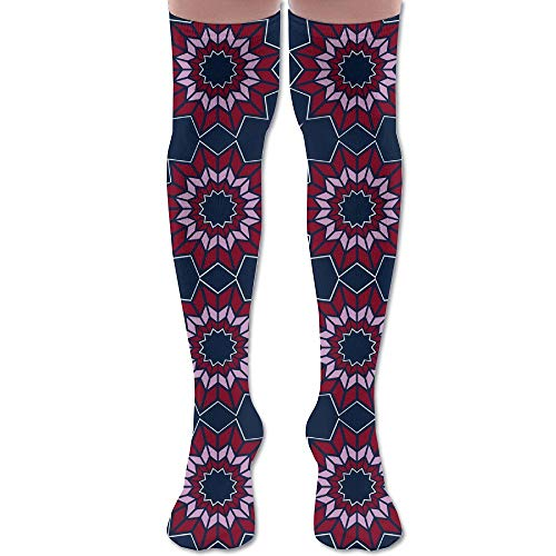 DFAUHAL Dresden Quilt Fabric (5361) Knee High Graduated Compression Socks for Unisex - Best Medical, Nursing, Travel & Flight Socks - Running & Fitness