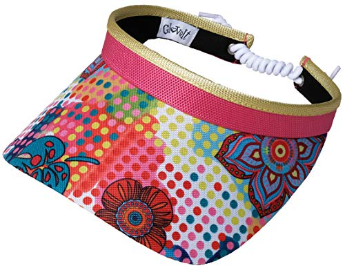 Glove It Women's Adjustable Coil Visor Golf & Tennis Head Visors for Women - UV 50 Protection - Ladies Sun Visor Hat - Large Wide Brim - 2019 Bloom