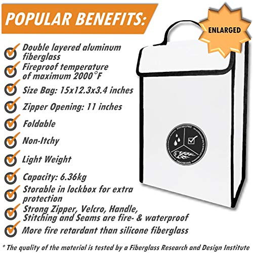 Fireproof Document Bag 15x11x4 Non-Itchy Silicone Coated Fiberglass Fireproof Document Bag,Fire Resistant Money Bag Fireproof Safe Storage for Money,Documents,Jewelry and Passport Large