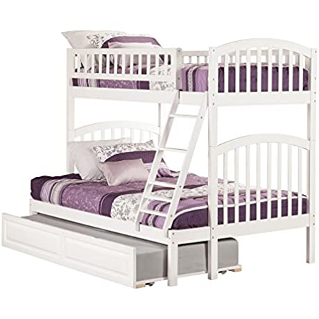 Atlantic Furniture Richland White Rubberwood Twin Over Full Bunk Bed With Raised Panel Trundle