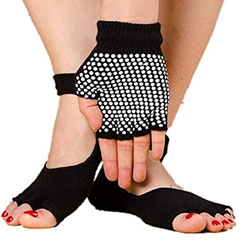 Toeless Yoga Socks and Glove Set by Extreme Fit