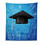 Lunarable Graduation Tapestry, Convocation Day Cap Figure over School Elements Background Education Art Image, Fabric Wall Hanging Decor for Bedroom Living Room Dorm, 23 W X 28 L Inches, Blue Black