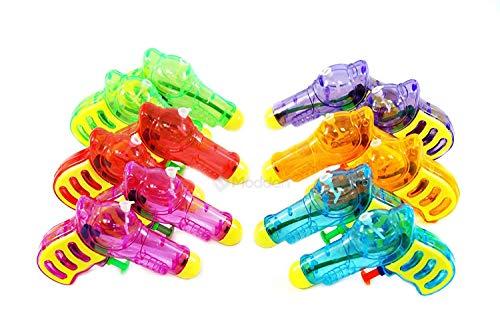 Assortmart 12 Squirt Guns For Kids - Transparent Neon Bulk Water Guns With Classic Design And Durable Materials -