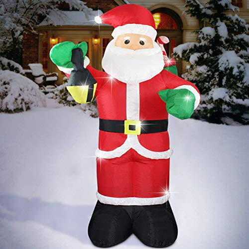 Christmas Inflatable 6 FT Santa Claus Xmas Lighted Blow-Up Airblown Inflatable for Yard Party Decoration