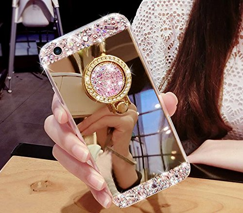 Price comparison product image iPhone SE Case,Inspirationc Crystal Rhinestone Mirror Glass Case Bling Diamond Soft Rubber Makeup Case for iPhone 5/5S/SE with Detachable 360 Degree Ring Stand--Gold