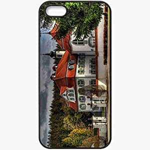 Protective Case Back Cover For iPhone 5 5S Case Germany Leutkirch Building Mansion Fence Black