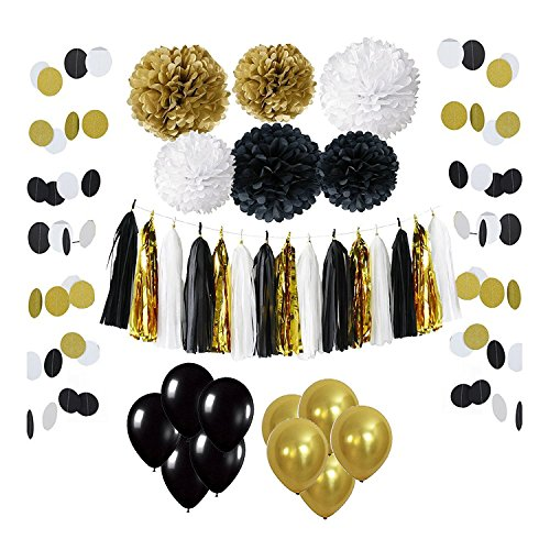 Wartoon 33 Pcs Paper Pom Poms Flowers Tissue Balloon Tassel Garland Polka Dot Paper Garland Kit for Birthday Wedding Party Decorations - Black and Gold (Easy Halloween Crafts Tissue Paper)