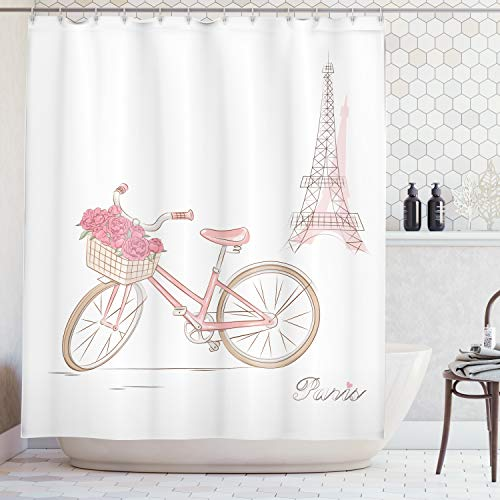 Ambesonne Vintage Decor Collection, Vintage Bike with Roses in Basket Paris Eiffel Tower Landscape French Floral Valentines, Polyester Fabric Bathroom Shower Curtain Set with Hooks, Pink White
