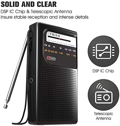 Black Best Mini Radio Antenna Reception for Emergency by MIKA Small Transistor Radio Battery Operated AM FM Radio with Speaker and Earphone Jack