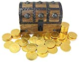 "Chocolate Gold Coins In Wooden Pirate Treasure Chest Box Large 7""x5""x4.5"" Foil 50-70 (10oz) Coin Belgium Chocolate by Well Pack Box"