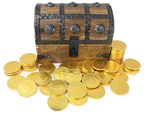 Chocolate Gold Coins In Wooden Pirate Treasure Chest Box Large 7x5x4.5 Foil 50-70 (8oz) Coin Belgium Chocolate by Well Pack Box (Candy Gold Coins)
