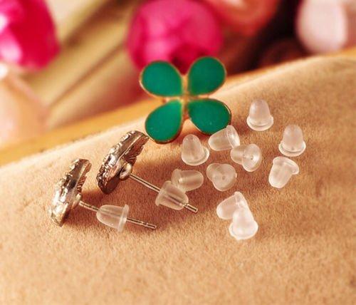 LeLeShop 500PCS Rubber Earring Stud Dangler Back Stoppers Ear Post Nuts Findings 4MM TM