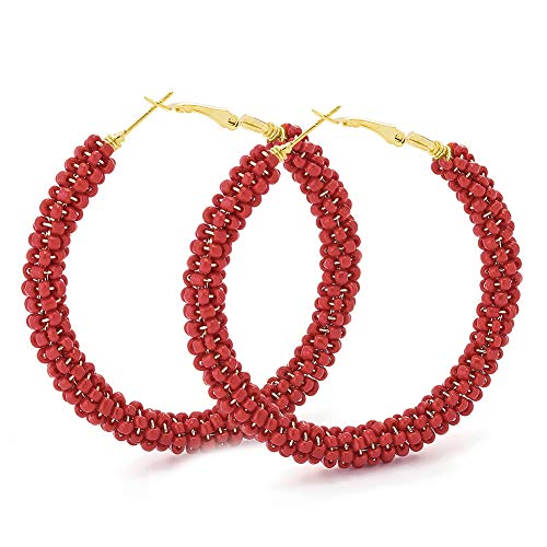 Beaded Hoop Earrings for Women - Handmade Big Circle Beaded Earrings - Idea for Business, Wedding, Party or Daily Wear (Red Festival)