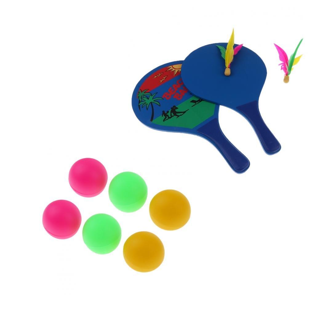 MagiDeal 2pcs Jouet Raquette Portable Jeux de Jardin Plage Tennis Avec 6pcs Balle de Tennis de Table Balle Décoration - Coloré