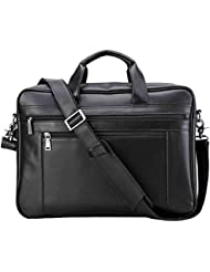 Polare Mens Full Grain Leather 17.7 Briefcase Laptop Business Bag Black