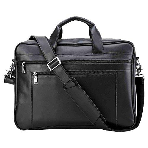Polare Men's Full Grain Leather 17.7'' Briefcase Laptop Business Bag Black by Polare