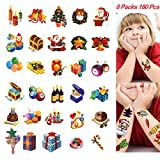 Multi-colored Christmas Temporary Tattoos, PrettyDate 150+ Vivid Designs, Fake Festival Tattoos for Kids Yuletide Party- Santa, Reindeer, Snowman, Candy Gifts- 8 Sheets